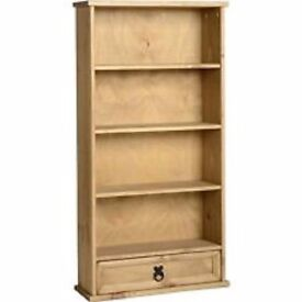 BRAND NEW IN BOX Corona Mexican Pine 1 Drawer Bookcase DVD/CD Stand