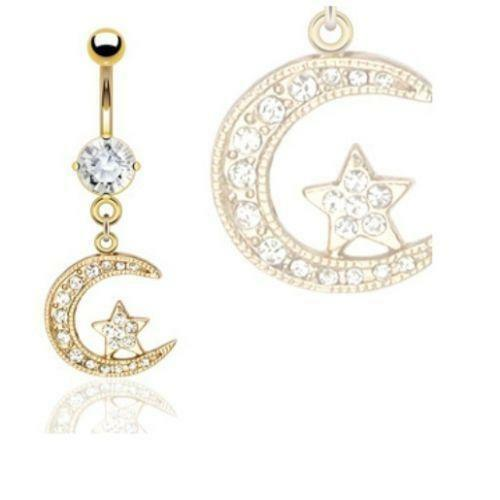 Moon And Star Dangle Belly Ring
