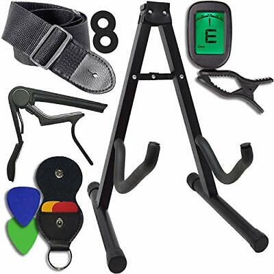 Guitar Accessories  Kit - Stand, Clip-on Tuner, Strap w/ Locks, Capo, 4 Assorted