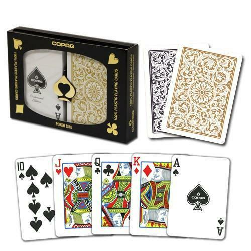 New COPAG Black Gold Poker Size Regular Index Plastic Playing Cards FREE CUTCARD
