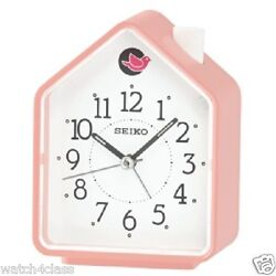 Seiko 2 Bird Songs bedside Alarm Clock quiet QHP002P Pink House cute FREE SHIP