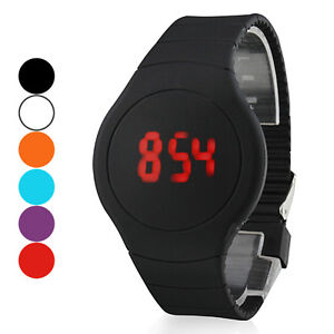 Unique-Touch-Screen-Red-LED-Digital-Round-Rubber-Band-Wrist-Watch-for-Men-Women