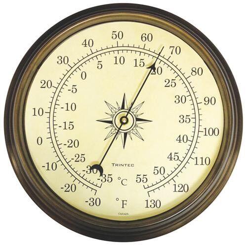 """TRINTEC COM-03 14"""" Antique Brass Thermometer"""