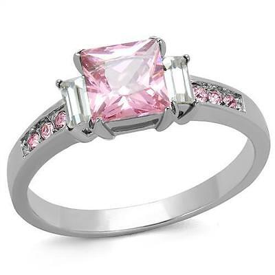 (Princess Pink Rose Sapphire CZ Accents Stainless Steel Square Engagement Ring)