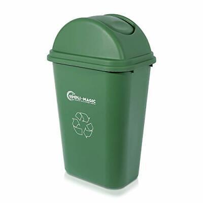 Simpli-Magic 79231 Swing-Top Lid Recycle Bin, 9.5 Gallons, Green