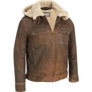 Mens Vintage Leather Bomber Jacket