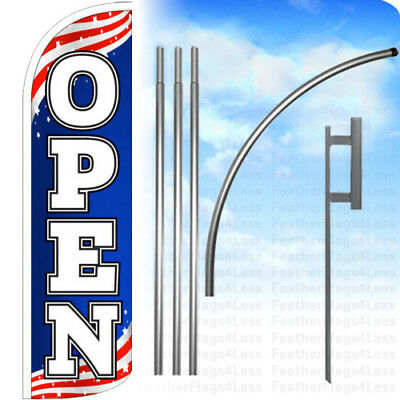 Open - Windless Swooper Flag Kit 15 Feather Banner Sign - Patriotic Bq