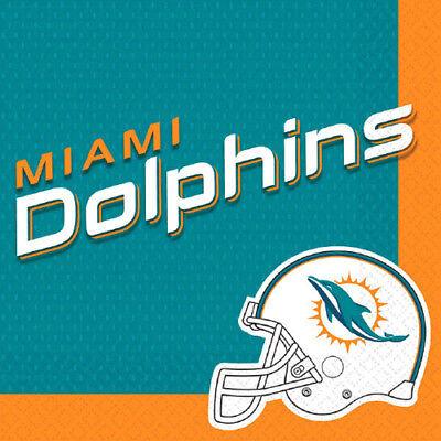 NFL MIAMI DOLPHINS LUNCH NAPKINS (16) ~ Birthday Party Supplies Serviettes - Party Supplies Miami