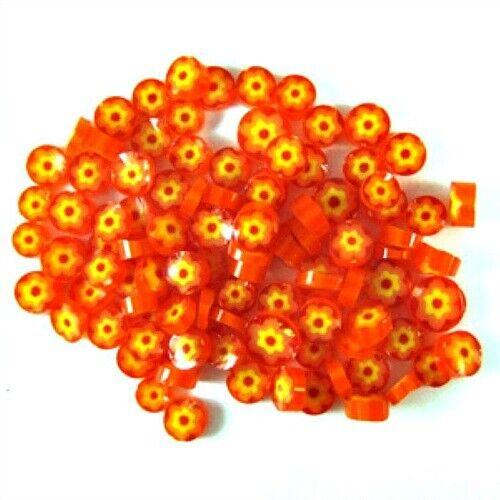 COE 96 Orange Cape Jasmine Millefiori Fusible Glass 610396