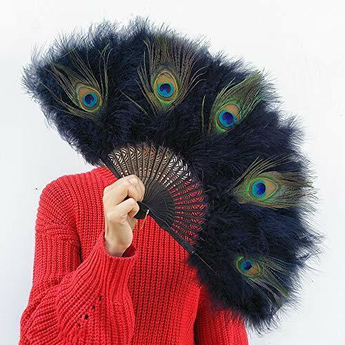 Fan / black peacock feather fan / flamenco / feather fan / peacock... from Japan