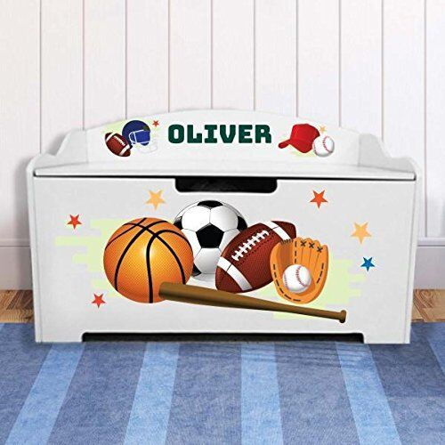 Toy Chest Storage Personalized Box For Boys Kids White Moder