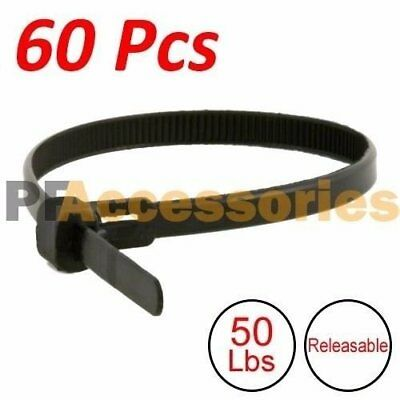 60 Pcs 12 Inch Heavy Duty Releasable 50 Lbs Nylon Cable Zip Tie Black Wire