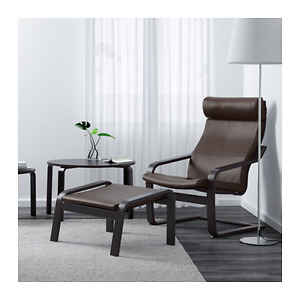 IKEA LEATHER ARMCHAIR AND FOOTSTOOL