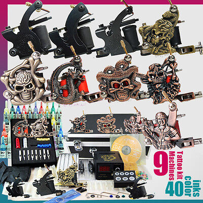 Complete Tattoo Kit 9 Machine Gun Power Supply 50 Needles 40 Ink Set D23-2 on Rummage