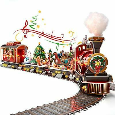 3D Puzzles for Adults & Kids LED Christmas Train Sets, Musical Steam Santa 218Pc
