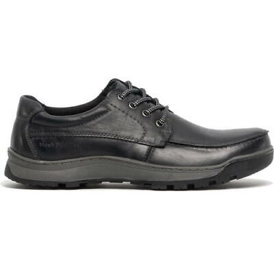 Hush Puppies Tucker Mens Black Leather Lace Up Casual Shoes Size 8-14