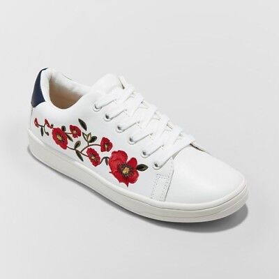 NEW A New Day Women's Bebe Lace Up Embroidered Sneakers - White - Size: 10