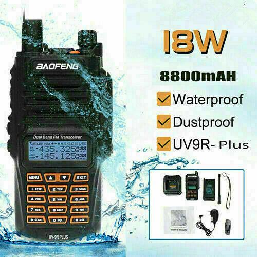 Baofeng 18W UV-9R Plus 128CH Walkie Talkie UHF VHF Dual Band Ham Radio IP67