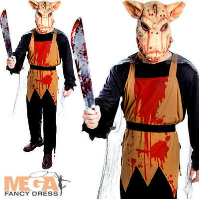 Pig Butcher Mens Fancy Dress Scary Animal Horror Adults Halloween Costume Outfit