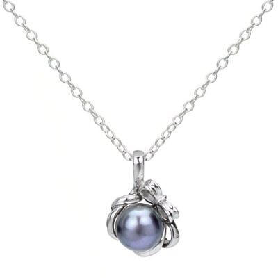 Sterling Silver 8mm Black Round Freshwater Cultured Pearl Bo