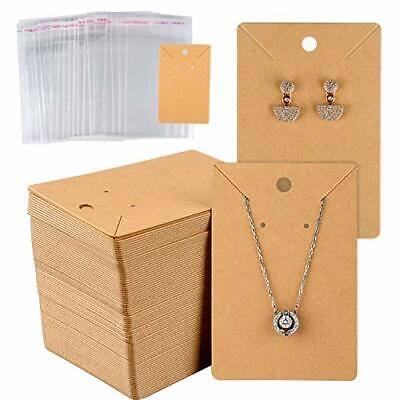 150 Set Earring Card With 150 Pcs Bags Earring Card Holder Blank Paper Brown