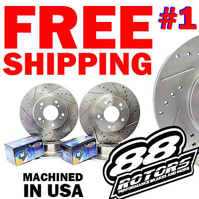 ALL FOUR 4 FR Drilled Slotted Brake Discs Rotors Ceramic Brake Pads ITR Type R