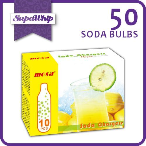 MOSA SODA BULBS - 10 PACK X 5 (50 CHARGERS) - PURE CARBON DIOXIDE CO2