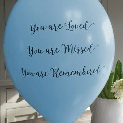 Angel & Dove 25 Blue 'You Are Loved' Biodegradable Latex Funeral Balloons - Are Balloons Latex