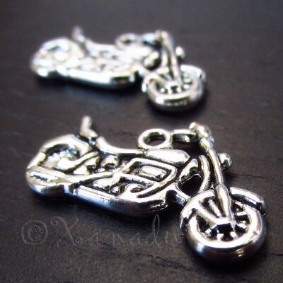 Motorcycle 24mm Antiqued Silver Plated Charm Pendants C3298 - 10, 20 Or 50PCs ()