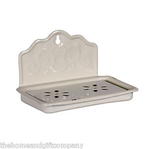 Cream Shabby Chic Enamelled Metal Vintage Style Traditional Soap Dish. Bathroom