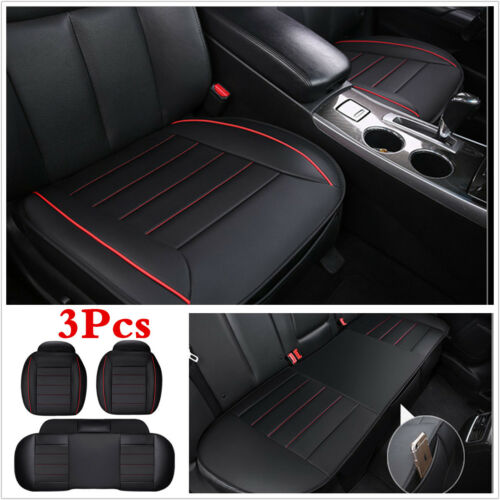 3Pcs PU Leather Charcoal Car Seat Cover Cushion Front Rear Full Surround Mat Pad