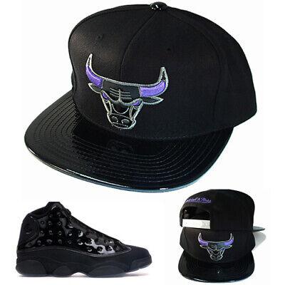 ace2a303b678 Mitchell   Ness Chicago Bulls Snapback Hat Matching Air Jordan 13 Cap    Gown Cap