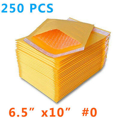 250 Pcs 0 Kraft Bubble Padded Self-sealing Envelopes Mailers 6.5x10 Inner 6x9