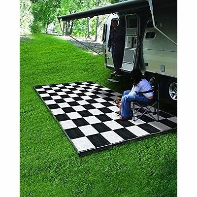 Outdoor Floor Mat Patio Entrance Entry Step Heavy Duty RV Black White Large 9x12