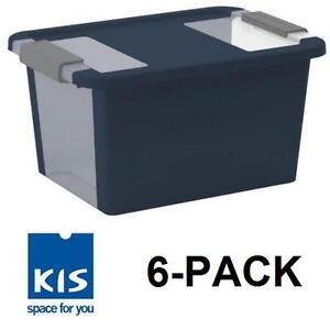 6 NEW KIS LATCHING STORAGE TOTES MEDIUM 29 QUART MIDNIGHT BLUE - BI BOX - STORAGE BINS TOTE BIN ORGANIZATION 107276910