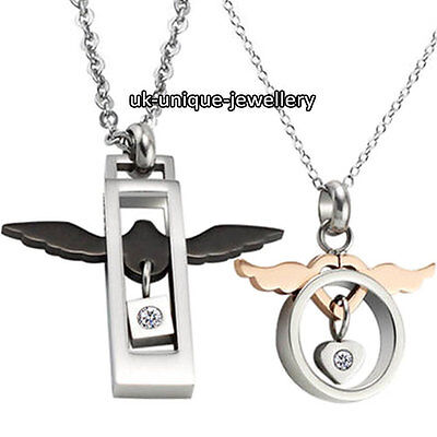 Unique Angel Wings Couple Necklace Valentine Love Gifts For Him Her Husband Wife