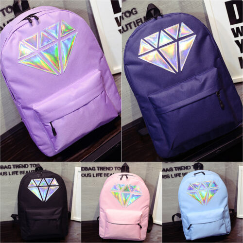Girl Diamond Holographic School Backpack Travel Shoulder Boo