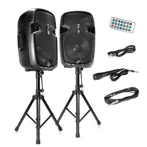 Pyle Active Bluetooth PA Dual Loudspeaker Sound System + Microphones (Open Box)
