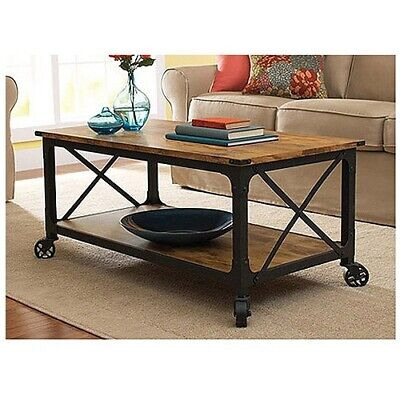 Rustic Wood Look Coffee Table Metal Country Farm Style Living Room Furniture ()