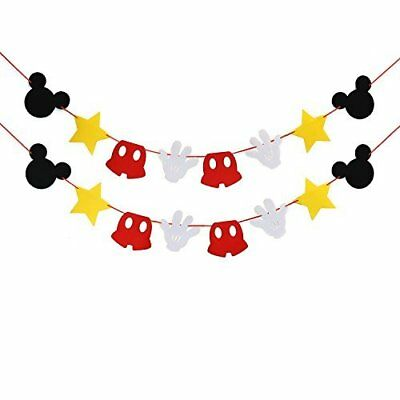 Mickey Themed Felt Garland Birthday Party Banner Decoration Supplies (Mickey Mouse Party Theme Decorations)