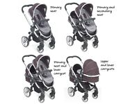 iCandy Peach Black Jack Double Twin Tandem Pushchair Pram Stroller Buggy 2 Seats Carrycot Bundle