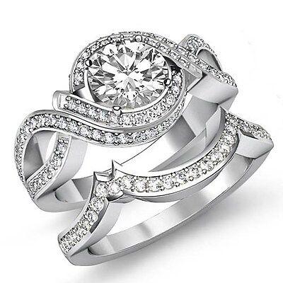 2.5ct Round Diamond Engagement Bridal Set Javda Ring GIA F VVS2 14k White Gold