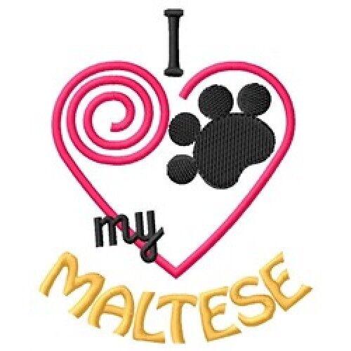 "I ""Heart"" My Maltese Long-Sleeved T-Shirt 1415-2 Size S - XXL"