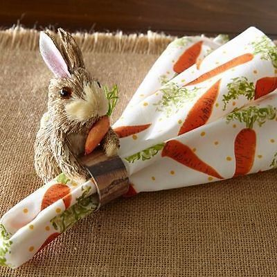 Pier 1 Natural Bunny with Carrot Easter Spring Napkin Rings - Set of 8