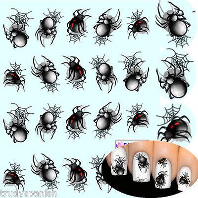 Nagelkunst Aufkleber Nagel Wasser ABZIEHBILDER HALLOWEEN schwarz groß Spinnen