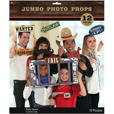 WESTERN Yeehaw JUMBO PHOTO PROP SET (12) ~ Birthday Party Supplies Country Decor