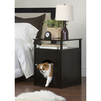 DESIGNER Pet LITTER BOX Toilet COVER Night STAND Table Cat HOUSE Dog Crate BROWN