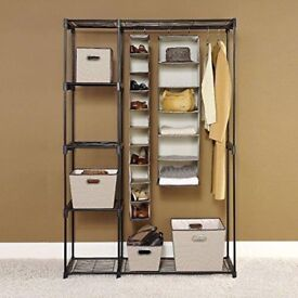 Portable Double Rod Clothes Wardrobe Rack Clothes Organizer Storage Cloth Cabinet Large
