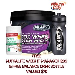 Balance 100% Whey Protein 2.8kg Chocolate Free Weight Manager120s & Drink bottle