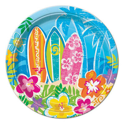 LUAU Hula Beach Party SMALL PAPER PLATES (8) ~ Supplies Birthday Party Summer - Beach Paper Plates